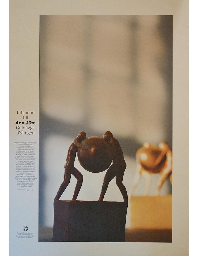 Annons, inbjudan till Guldäggstävlingen 1996, för Sveriges Reklamförbund