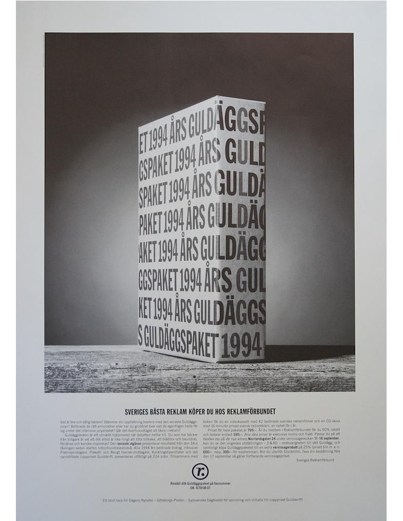 Annons, köpa 1994 års Guldäggsbok, för Sveriges Reklamförbund