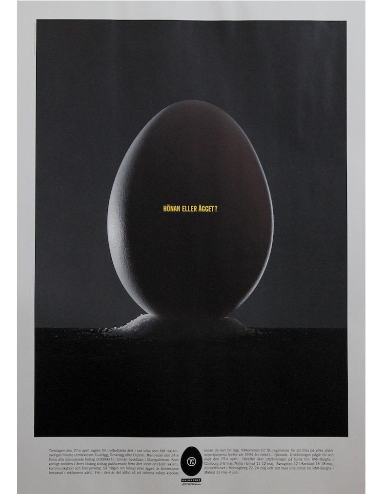Annons, inbjudan till Guldäggstutställningen 1995, för Sveriges Reklamförbund