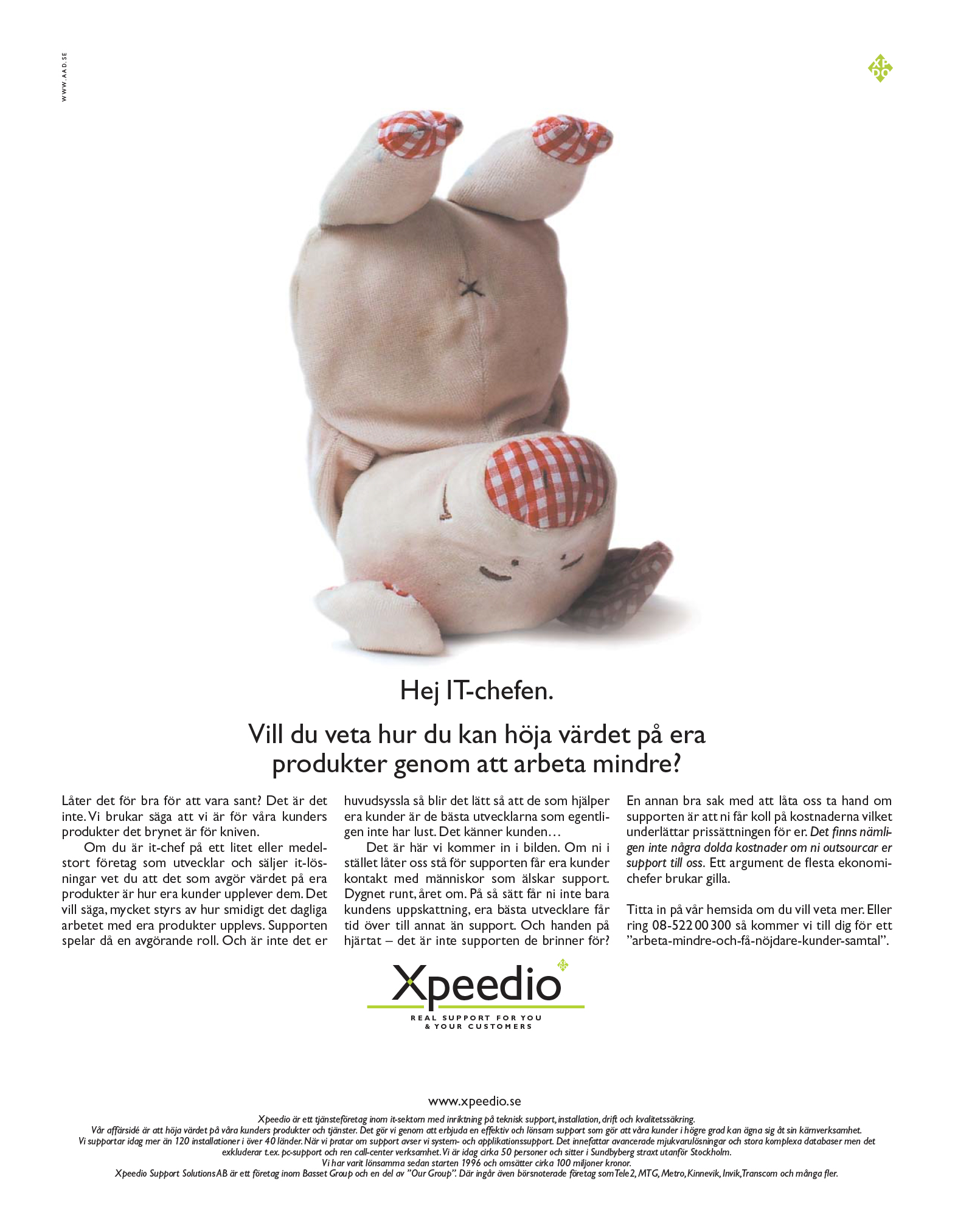 Annons för Xpeedio