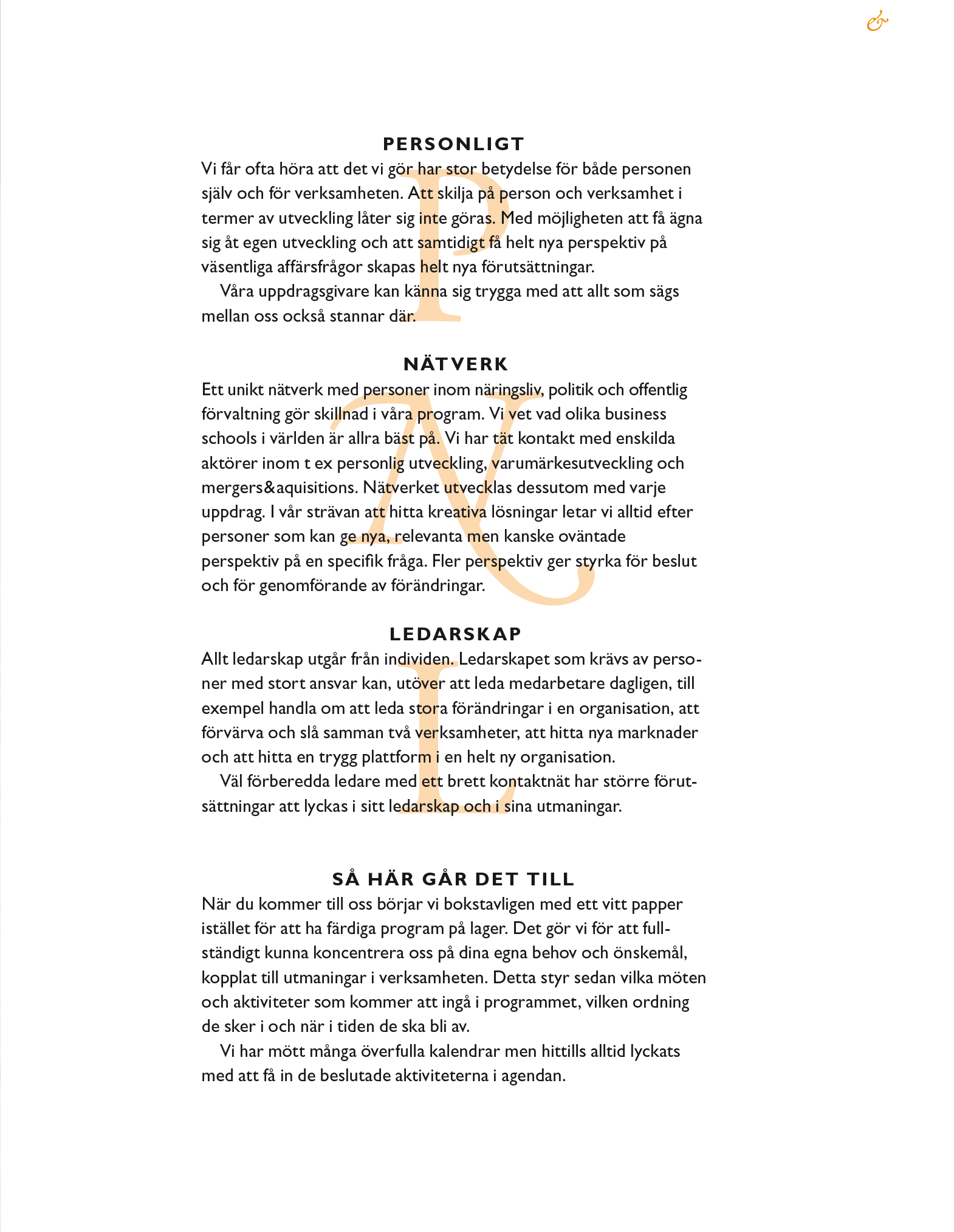 Sida ur broschyr för Lindström & Göthberg