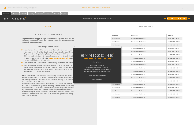 Användargränssnitt för Synkzone